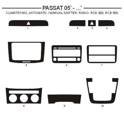 Dekor interiéru Volkswagen Passat 2005- střed, climatronic